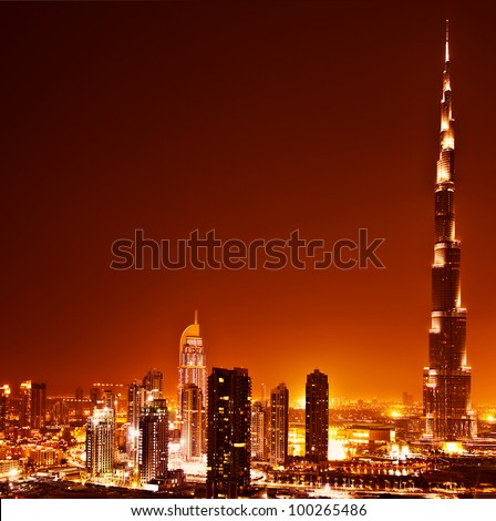 DUBAI, UAE - APRIL 04: Burj Khalifa, world's tallest tower ever built, located at Downtown, Burj Dubai at night April 04, 2011 in Dubai, United Arab Emirates