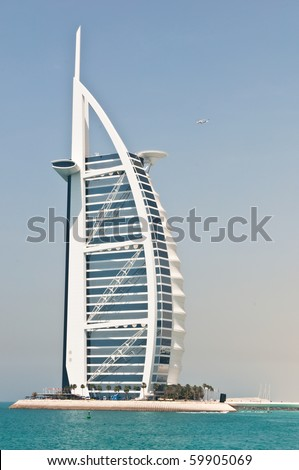 DUBAI, UAE - APRIL 05: The grand sail shaped Burj al Arab Hotel taken April 5, 2010 in Dubai. The hotel is classed as one of the most luxurious in the world and is located on a man made island.