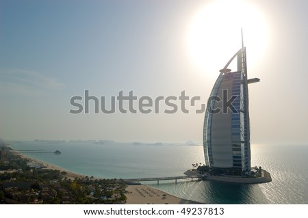 "DUBAI, UAE - AUGUST 27: The world's first seven stars luxury hotel Burj Al Arab ""Tower of the Arabs"", also known as ""Arab Sail"" at sunset  on August 27, 2009 in Dubai, United Arab Emirates"