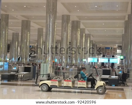DUBAI, UAE - DEC 19: The newer Terminal 3 (Emirates) at Dubai International Airport, one of the busiest airports, on December 17, 2011. It  is the single largest building in the world by floor space.