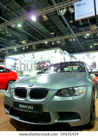 DUBAI, UAE - DECEMBER 19: BMW M3 on display during Dubai Motor Show 2009 at Dubai Int'l Convention and Exhibition Centre December 19, 2009 in Dubai, United Arab Emirates