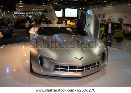 DUBAI, UAE - DECEMBER 16: Corvette Stingray on display during Dubai Motor Show 2009, December 16,2009, in Dubai, United Arab Emirates