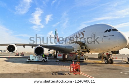 DUBAI, UAE - DECEMBER 26: Emirates Airbus A380 at Dubai Airport on December 26, 2012 in Dubai, UAE. Emirates was first customer to place order for the a380.