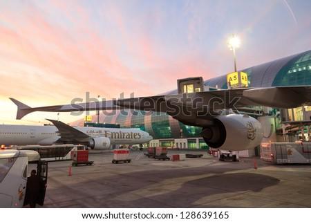 DUBAI, UAE - DECEMBER 26: Emirates Airbus A380 at Dubai Airport on December 26, 2012 in Dubai, UAE. Emirates handles major part of passenger traffic and aircraft movements at the airport.