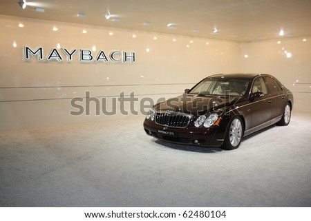 DUBAI, UAE - DECEMBER 19: Maybach on display during Dubai Motor Show 2009 at Dubai Int'l Convention and Exhibition Centre December 19, 2009 in Dubai, United Arab Emirates.