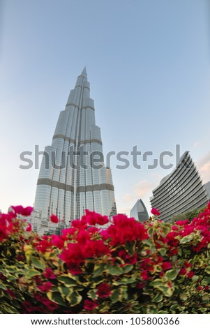 DUBAI, UAE - FEBRUARY 19: Burj Khalifa facade on december 29, 2011 in Dubai, UAE. Burj Khalifa is a tallest building in the world, at 828m. Located on Downtown Dubai, Sheikh Zayed Road.