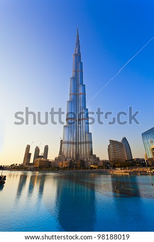 DUBAI, UAE - JAN 29: Burj Khalifa, world's tallest tower, Downtown Burj Dubai January 29, 2012 in Dubai, United Arab Emirates