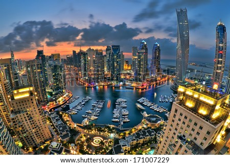 DUBAI UAE JANUARY 10 Beautiful aerial view of Dubai Marina just after the sunset in Dubai January 10 2014