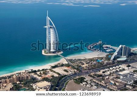 DUBAI UAE JANUARY 20 Burj Al Arab hotel on January 20 2011 in Dubai UAE Burj Al Arab is a luxury 5 star hotel built on an artificial island in front of Jumeirah beach