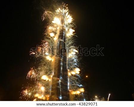 DUBAI, UAE - JANUARY 04: Burj Khalifa (Burj Dubai) world\'s tallest tower (828 meters) grand opening ceremony at Downtown Burj Dubai January 04, 2010 in Dubai, United Arab Emirates.