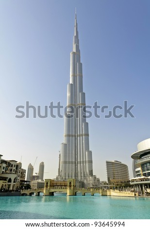 DUBAI, UAE - JANUARY 6: Burj Khalifa on January 6, 2012 in Dubai, UAE. Burj Khalifa, known as Burj Dubai, is currently the tallest manmade structure in the world, at 829.84 m (2,723 ft).