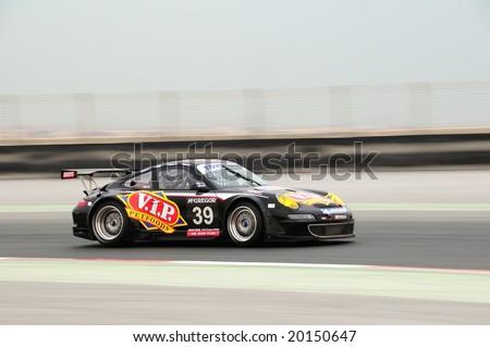 Dubai, UAE - JANUARY 12, 2008: Porsche RSR from VIP Pet foods Team, the TOYO TIRES 24H of Dubai 2008\'s winner, after 504 laps.