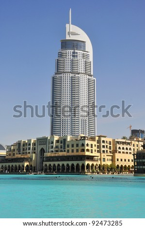 DUBAI, UAE - MARCH 23: Address Hotel and Lake Burj Dubai on March 23, 2011 in Dubai. The hotel is 63 stories high and feature 196 lavish rooms and 626 serviced residences .