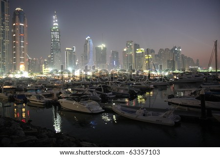 DUBAI, UAE - MARCH 13: Luxury Yachts on display during Dubai Boat Show 2010 at Dubai Marina Yacht club March 13, 2010 in Dubai, United Arab Emirates.