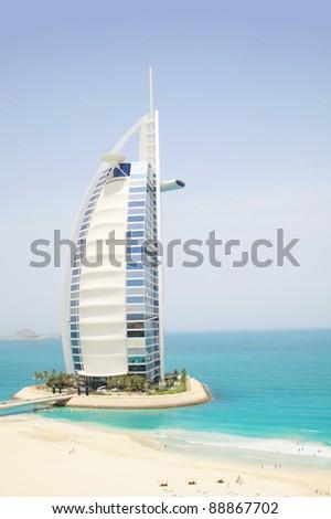 DUBAI, UAE - MAY 26: Burj Al Arab hotel on May 26, 2011 in Dubai. Burj Al Arab is a luxury 5 star hotel built on an artificial island in front of Jumeirah beach.