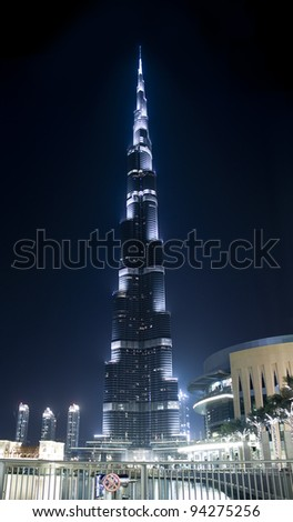 DUBAI, UAE - MAY 23: Burj Khalifa, world's tallest tower ever built, located at Downtown, Burj Dubai at night May 23, 2011 in Dubai, United Arab Emirates