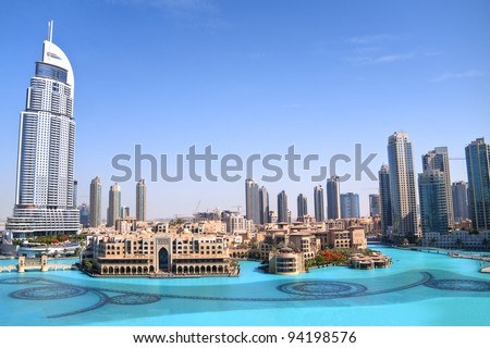 DUBAI, UAE - MAY 25 : Dubai, the view of Dubai downtown and dancing fountain from the tallest building in the world, Burj Khalifa on May 25, 2011 in Dubai, UAE. Day View