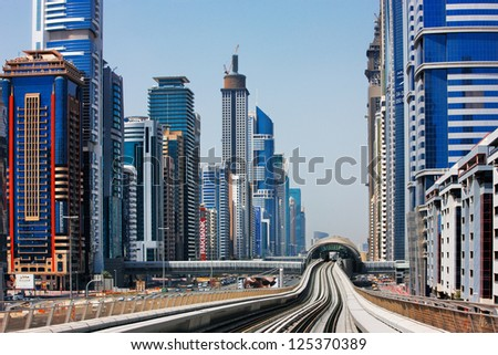 DUBAI, UAE - MAY 9 - Over 110000 people, which is nearly 10% of Dubais population, used the Metro in its first two days of operation on September 2009. Picture taken on May 9, 2010.