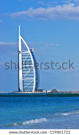 "DUBAI, UAE-NOVEMBER 15: A general view of the world's first seven stars luxury hotel Burj Al Arab ""Tower of the Arabs"" on November 15, 2012 in Dubai. Also known as ""Arab Sail"""