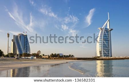 "DUBAI, UAE-NOVEMBER 15: A general view of the world's first seven stars luxury hotel Burj Al Arab ""Tower of the Arabs"" on November 15, 2012 in Dubai. Also known as ""Arab Sail"""