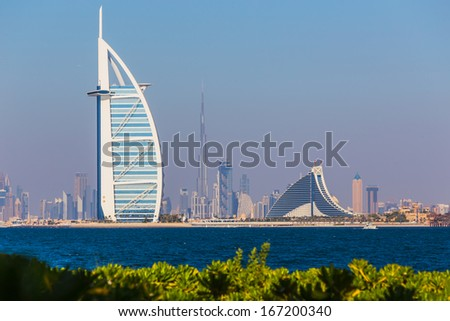 DUBAI UAE- NOVEMBER 7 A general view of the world's first seven stars luxury hotel Burj Al Arab Tower of the Arabs on November 7 2013 in Dubai Also known as Arab Sail