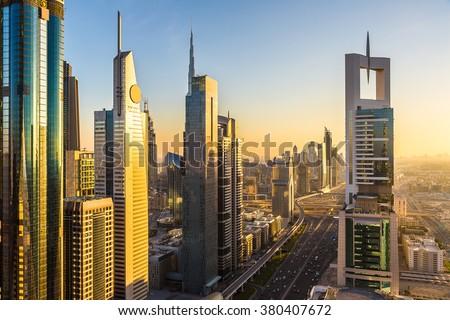 DUBAI, UAE - NOVEMBER 24 - Aerial view of downtown Dubai in a summer day, United Arab Emirates on November 24, 2015
