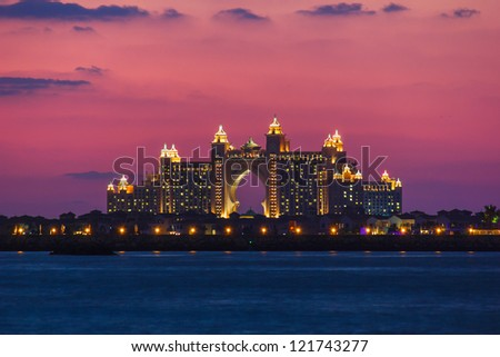 DUBAI, UAE - NOVEMBER 17: Atlantis Hotel  in Dubai. UAE. November 17, 2012. The newly opened multi-million dollar Atlantis Resort, Hotel & Theme Park at the Palm Jumeirah Island in Dubai