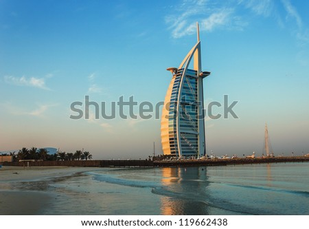 DUBAI, UAE - NOVEMBER 15: Burj Al Arab hotel on Nov 15, 2012 in Dubai. Burj Al Arab is a luxury 7 stars hotel built  in front of Jumeirah beach.