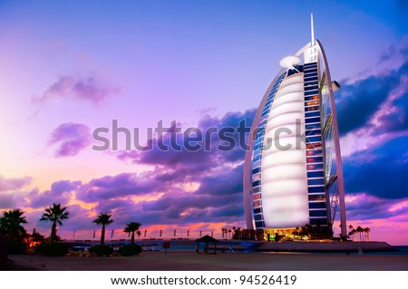 DUBAI UAE NOVEMBER 27 Burj Al Arab hotel on Nov 27 2011 in Dubai Burj Al Arab is a luxury 5 stars hotel built on an artificial island in front of Jumeirah beach