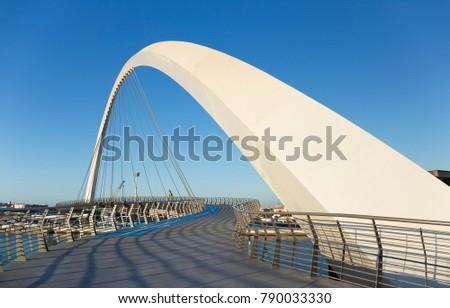 DUBAI, UAE - NOVEMBER 29, 2017: Dubai Water Canal arch bridge #790033330