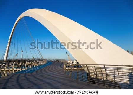 DUBAI, UAE - NOVEMBER 29, 2017: Dubai Water Canal arch bridge #791984644