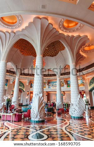 DUBAI, UAE-NOVEMBER 3: Hall of the Atlantis Hotel on November 3, 2013 in Dubai, UAE. The resort consists of two towers linked by a bridge, with a total of 1539 rooms.
