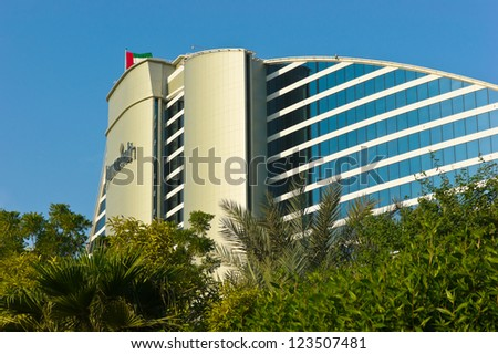 DUBAI, UAE-NOVEMBER 15: Jumeirah Beach Hotel on November 15, 2012 in Dubai. For the 2nd year in a row,hotel was voted Best Hotel in Middle East at the 2011 Business Traveller Awards held in Germany