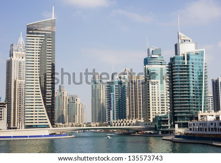 DUBAI UAE NOVEMBER 16 Modern buildings in Dubai Marina on November 16 2012 Dubai UAE Dubai was the fastest developing city in the world between 2002 and 2008