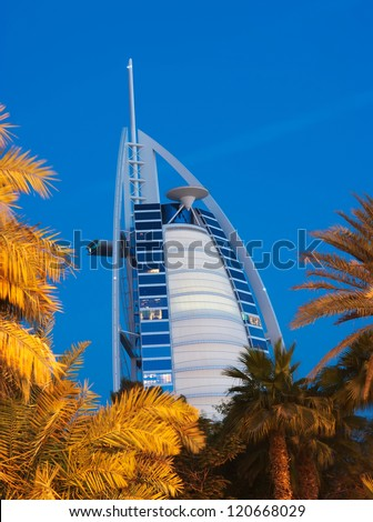 "DUBAI, UAE-NOVEMBER 15: Night view of the world's first seven stars luxury hotel Burj Al Arab ""Tower of the Arabs"" on November 15, 2012 in Dubai. Also known as ""Arab Sail"""
