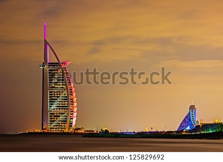"DUBAI, UAE-NOVEMBER 17: Night view of the world's first seven stars luxury hotel Burj Al Arab ""Tower of the Arabs"" on November 17, 2012 in Dubai. Also known as ""Arab Sail"""