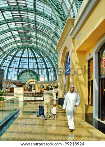 DUBAI, UAE - NOVEMBER 11: Shoppers at Dubai Mall on November 11, 2008 in Dubai, United Arab Emirates. Dubai Mall is one of the largest mall in the world.