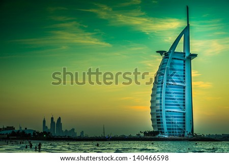 DUBAI UAE NOVEMBER 14 The world's first seven stars luxury hotel Burj Al Arab November 14 2012 in Dubai United Arab Emirates