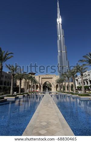 DUBAI, UAE - NOVEMBER 16: View at Burj Khalifa in Dubai, on November 16, 2010. This skyscraper is the tallest man-made structure ever built, at 828 m.