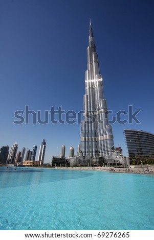 DUBAI, UAE - NOVEMBER 16: View at Burj Khalifa in Dubai, on November 16, 2010. This skyscraper is the tallest man-made structure ever built, at 828 m.