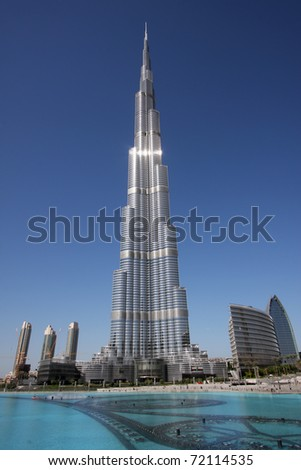 DUBAI, UAE - NOVEMBER 17: View at Burj Khalifa in Dubai, on November 17, 2010. This skyscraper is the tallest man-made structure ever built, at 828 m.