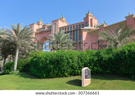 DUBAI, UAE-NOVEMBER 3: View Atlantis Hotel on November 3, 2013 in Dubai, UAE. The resort consists of two towers linked by a bridge, with a total of 1539 rooms.