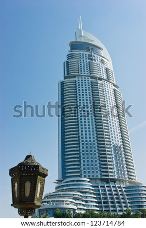 DUBAI, UAE-NOVEMBER 14: View of Hotel The Address in The Dubai Mall, the world's largest shopping and entertainment centre on November 14, 2012 in Dubai, UAE - stock photo