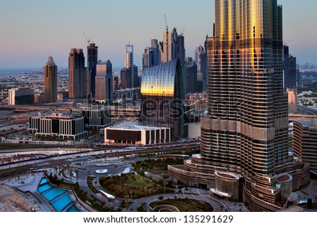 DUBAI, UAE OCT 17:A skyline view of Downtown Dubai and the Burj Khalifa on Oct 17, 2010 in Dubai, UAE. Dubai has been transformed in just one decade. It has become known as a playground for architects