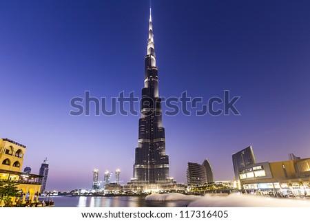 DUBAI, UAE - OCT 29: Burj Khalifa,the tallest manmade structure in the world, at 829.8 m, Downtown Burj Dubai October 29, 2012 in Dubai, United Arab Emirates - stock photo