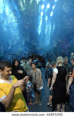 DUBAI, UAE - OCT 19: Interior View of Dubai Aquarium inside Dubai Mall on October 19, 2010 in Dubai, United Arab Emirates. The Aquarium has the longest plexi glass tunnel in the world.