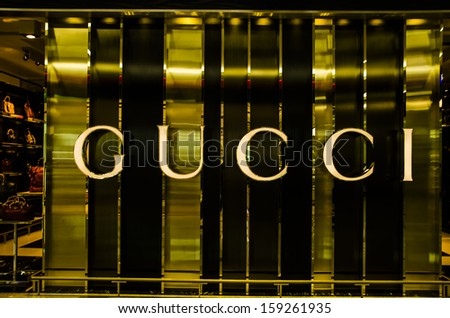 Dubai, Uae - Oct 19: View Of One Of The Gucci\'S Luxury Brands Outlets, One Of The Several Well Known Luxury Brand In Dubai Airport Duty Free Area Where The Photo Was Taken On 19 Oct 2013.