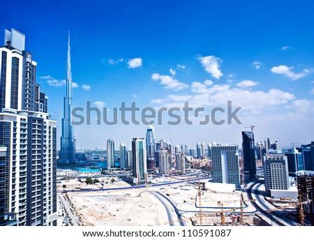 DUBAI, UAE - OCTOBER 26, 2011: Burj Khalifa, world's tallest tower ever built at 828m, located at Downtown, Burj Dubai on oct.26, 2011 in Dubai, United Arab Emirates - stock photo