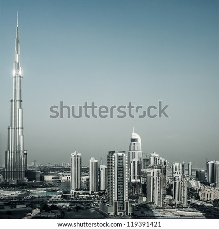 DUBAI, UAE - OCTOBER 26: Burj Khalifa, world's tallest tower ever built at 828m, located at Downtown, Burj Dubai aerial view on October 26, 2011 in Dubai, United Arab Emirates