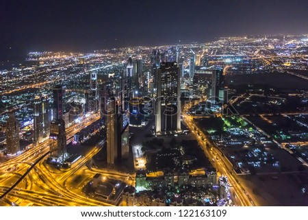DUBAI, UAE - OCTOBER 1: Night view of Dubai from Burj Khalifa, October 1, 2012, Dubai, United Arab Emirates. Dubai now boasts more completed skyscrapers higher than 0,8 � 0,25 km than any other city.